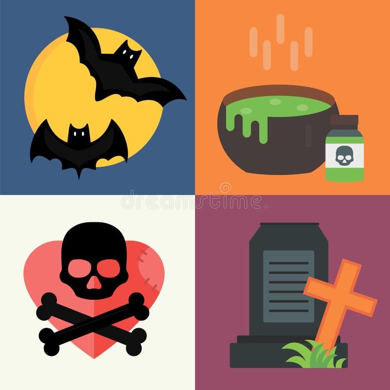 El truco del vector de Halloween o la colección del cementerio de la celebración de la invitación y la decoración tradicional fij libre illustration