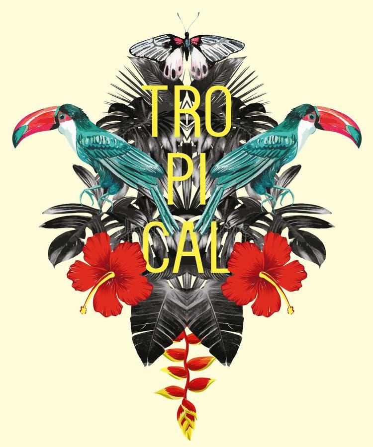 El tuc?n, hojas del pl?tano de la palma, hibisco duplica efecto stock de ilustración