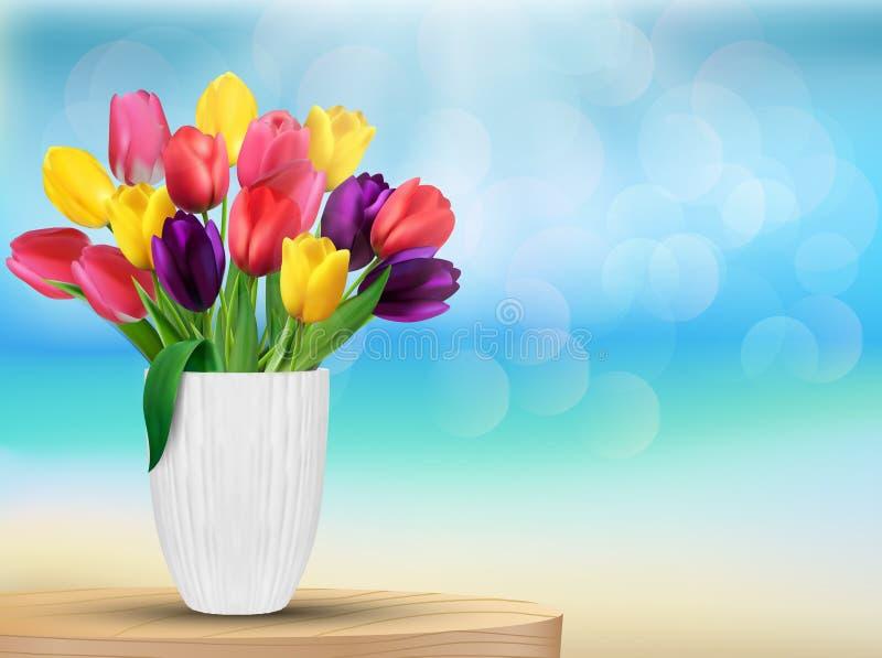 El tulipán florece en colores del arco iris en un vidrio blanco en la playa ilustración del vector