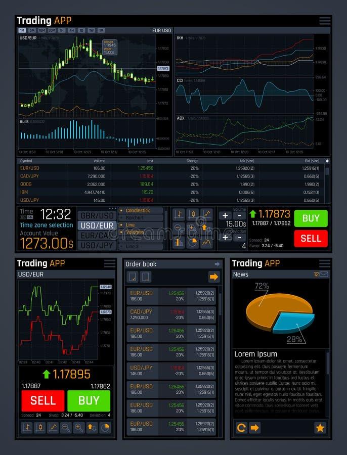 El ui del concepto del vector de la compra y venta de acciones con analiza las herramientas de los datos y las divisas financiera stock de ilustración