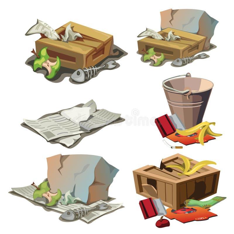 El ultramarinos, el papel y la otra basura Sistema de basura stock de ilustración