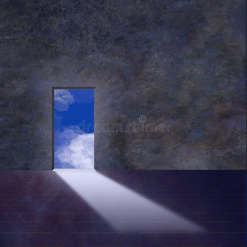 El umbral se abre en el cielo ilustración del vector