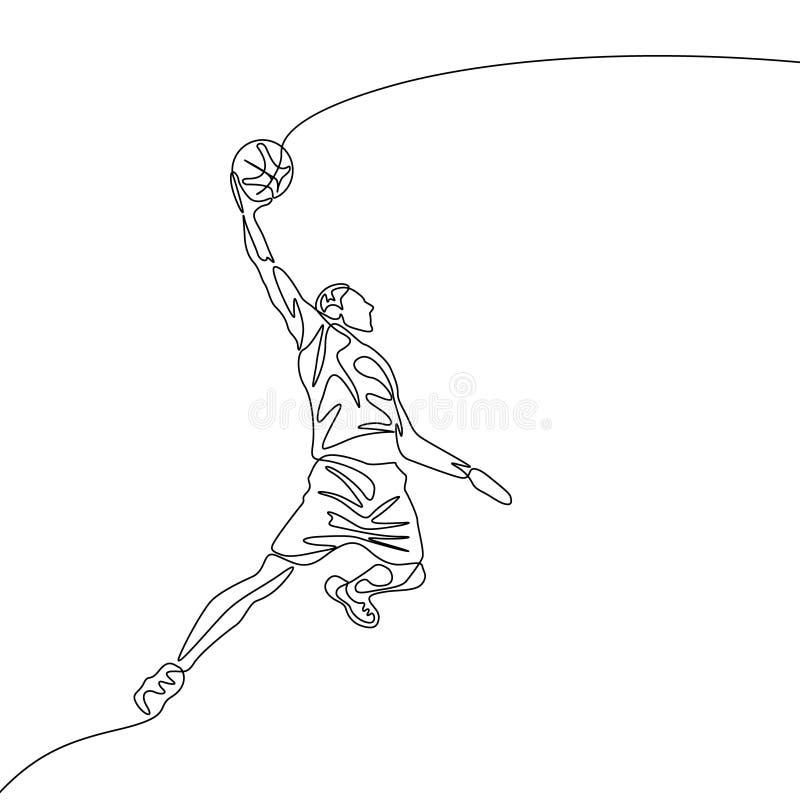 El un jugador de básquet continuo del dibujo lineal salta haciendo clavada libre illustration