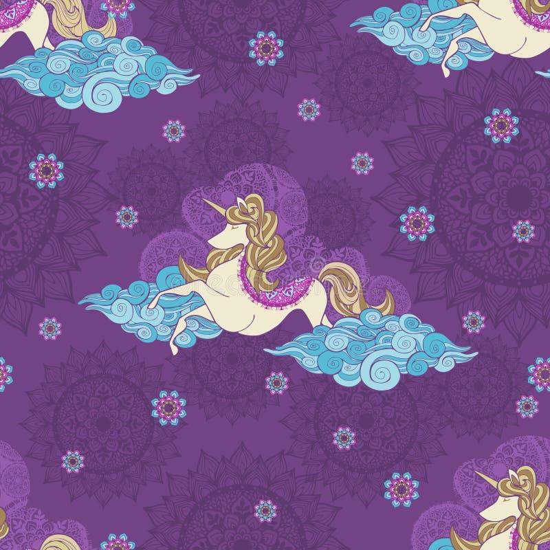 El unicornio abstracto de la fantasía con el vuelo del pelo rubio con la onda abstracta de la nube adorna con el diseño de la man libre illustration