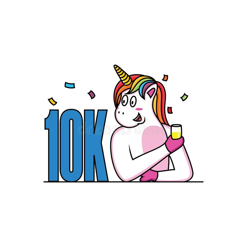 El unicornio celebra sus seguidores con la cara feliz fotografía de archivo libre de regalías