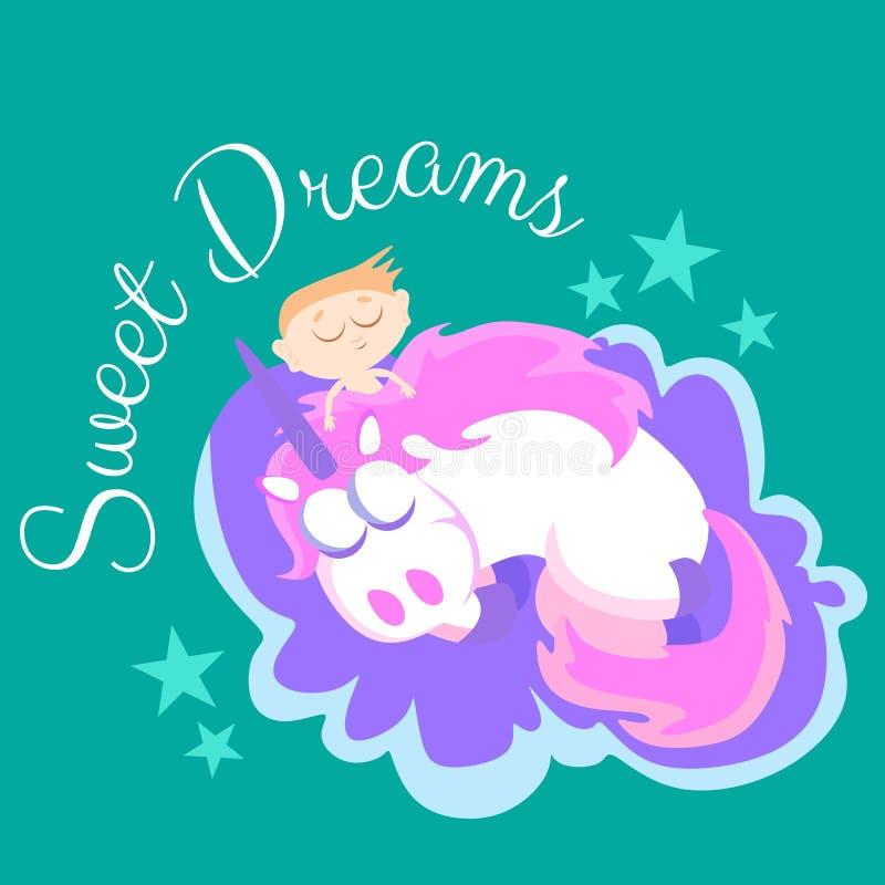 El unicornio lindo aisló el sistema, el vuelo mágico de Pegaso con el ala y el cuerno en el arco iris, ejemplo del vector del cab stock de ilustración