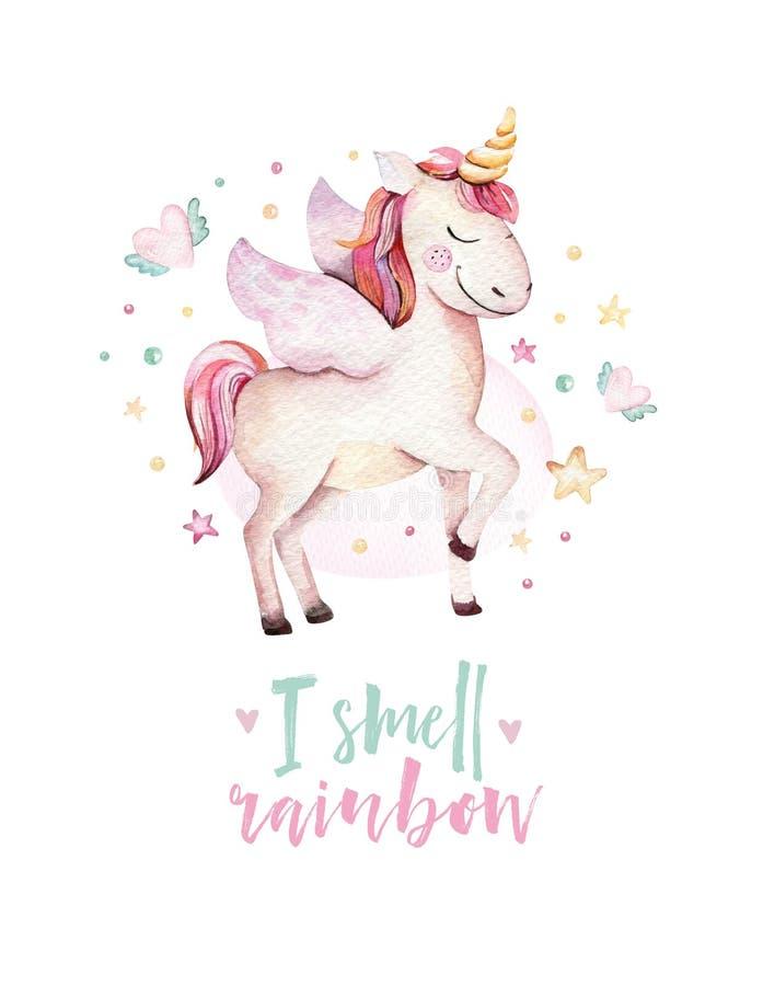 El unicornio lindo aislado de la acuarela embroma el cartel Ejemplo de los unicornios del cuarto de niños Dibujo de los unicornio ilustración del vector