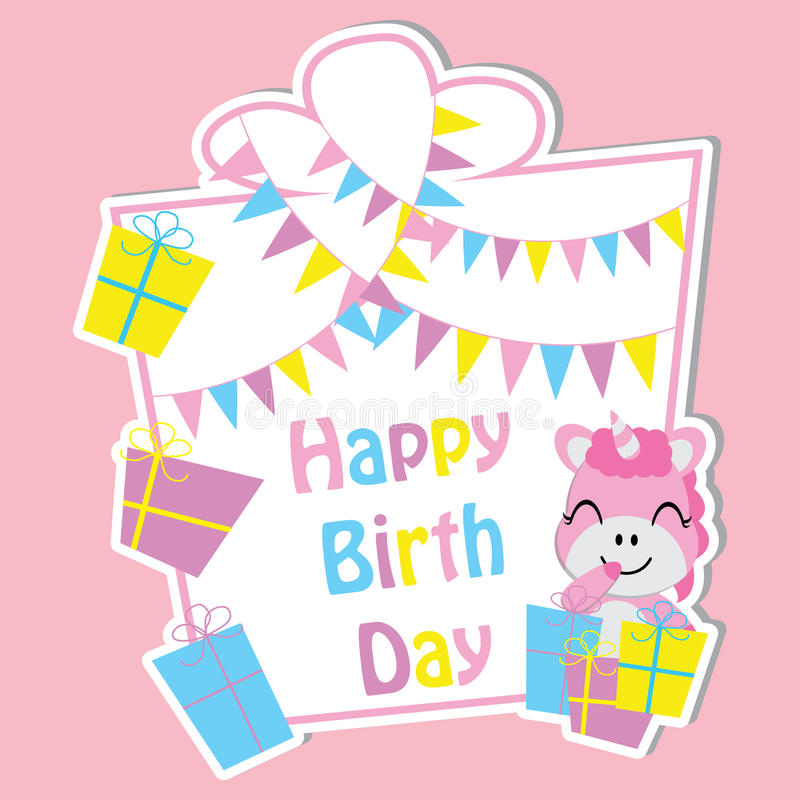 El unicornio lindo con las cajas de regalo coloridas y la bandera en marco vector la historieta, la postal del cumpleaños, el pap fotografía de archivo libre de regalías