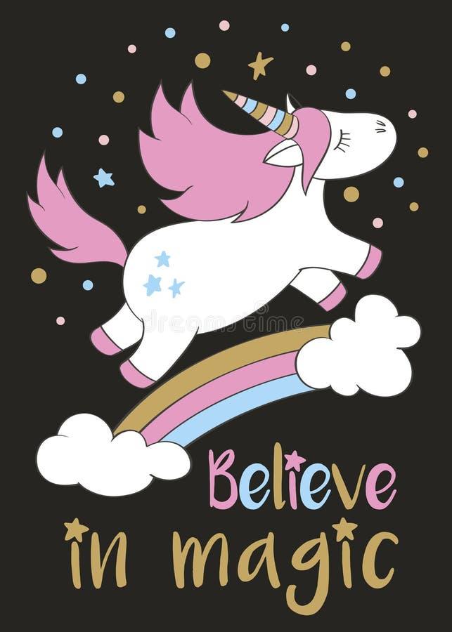 El unicornio lindo mágico en estilo de la historieta con las letras de la mano cree en magia ilustración del vector