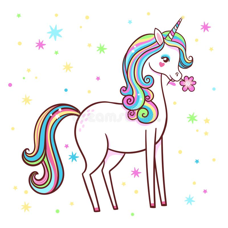 El unicornio lindo se coloca en un fondo blanco con las estrellas y sostiene una flor en sus dientes ilustración del vector