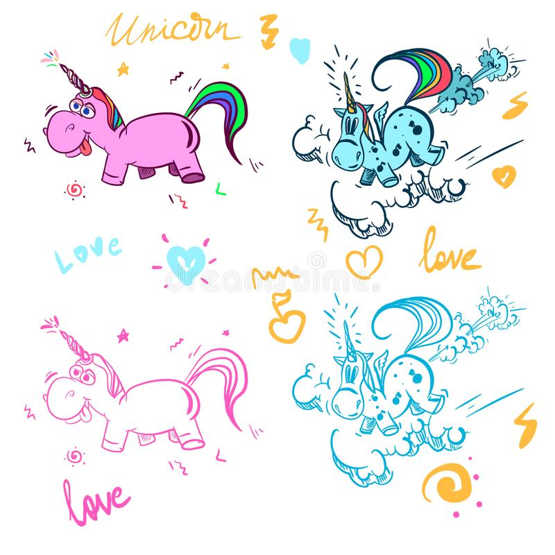 El unicornio mágico lindo, dulce embroma los gráficos para las camisetas Icono del vector del unicornio aislado en blanco Etiquet ilustración del vector