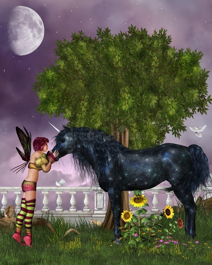 El unicornio negro pasado stock de ilustración