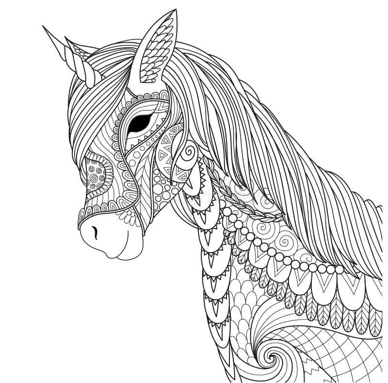 El unicornio para la página del libro de colorear y otro diseñan el elemento Ilustración del vector stock de ilustración