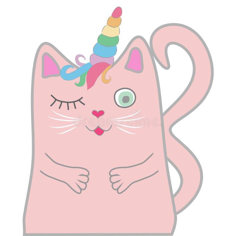 El unicornio rosado divertido del gato se cerró los ojos y lleva a cabo un corazón en sus patas Concepto de milagros y de magia stock de ilustración