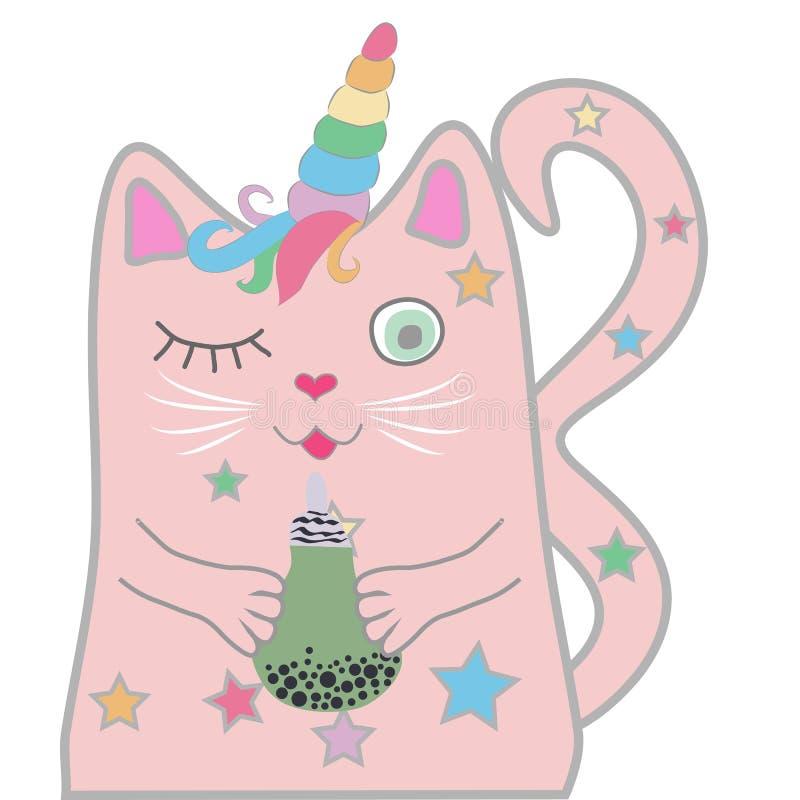 El unicornio rosado divertido del gato se cerró los ojos y lleva a cabo una bebida en sus patas Concepto de milagros y de magia ilustración del vector