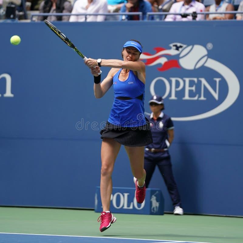 El US Open 2017 dobles mezclados defiende a Martina Hingis de Suiza en la acción durante partido final fotos de archivo