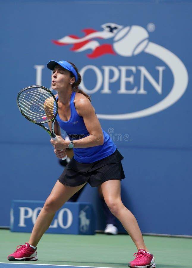 El US Open 2017 dobles mezclados defiende a Martina Hingis de Suiza en la acción durante partido final imagen de archivo