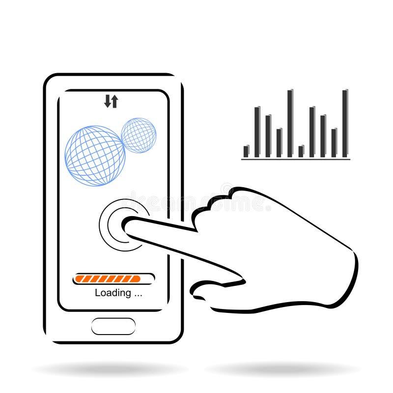 El uso de la pantalla táctil de Smartphone y el icono móvil de la conexión vector el ejemplo stock de ilustración