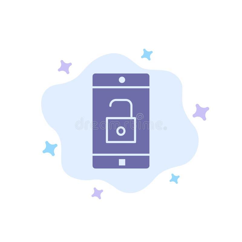 El uso, móvil, aplicación móvil, desbloquea el icono azul en fondo abstracto de la nube libre illustration