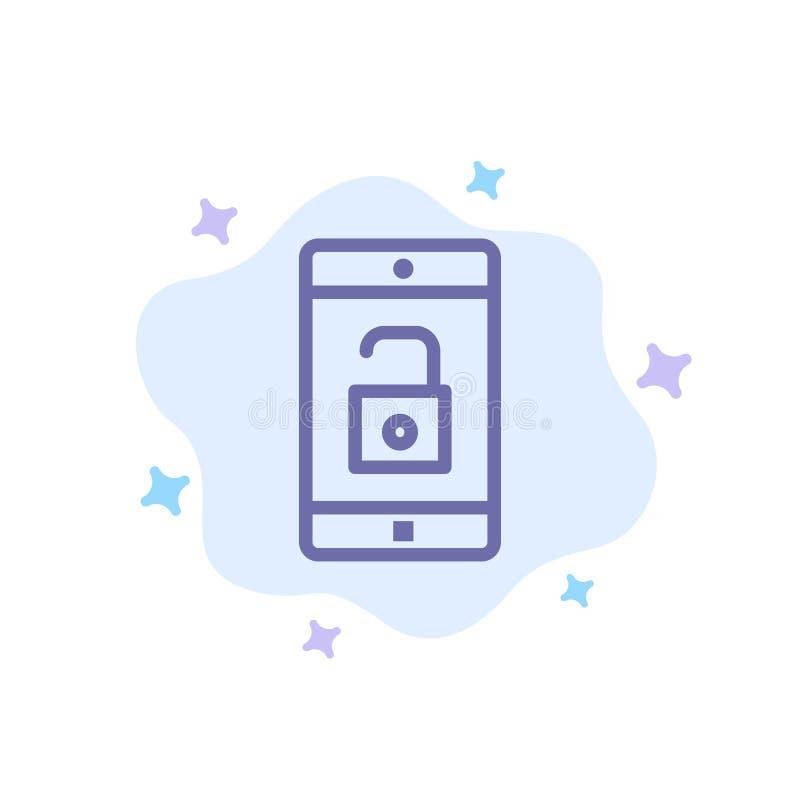 El uso, móvil, aplicación móvil, desbloquea el icono azul en fondo abstracto de la nube ilustración del vector