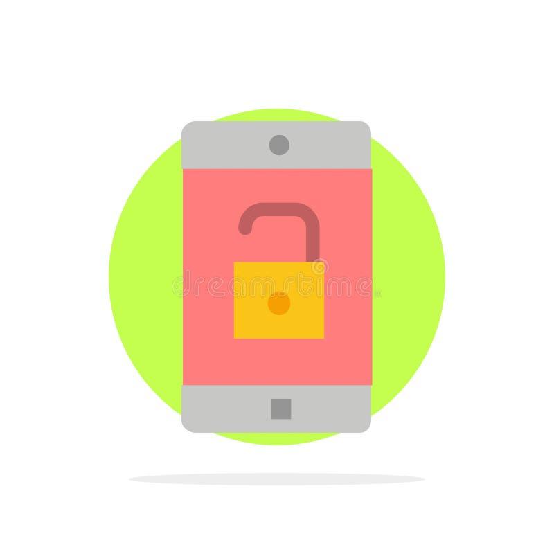 El uso, móvil, aplicación móvil, desbloquea el icono plano del color de fondo abstracto del círculo ilustración del vector