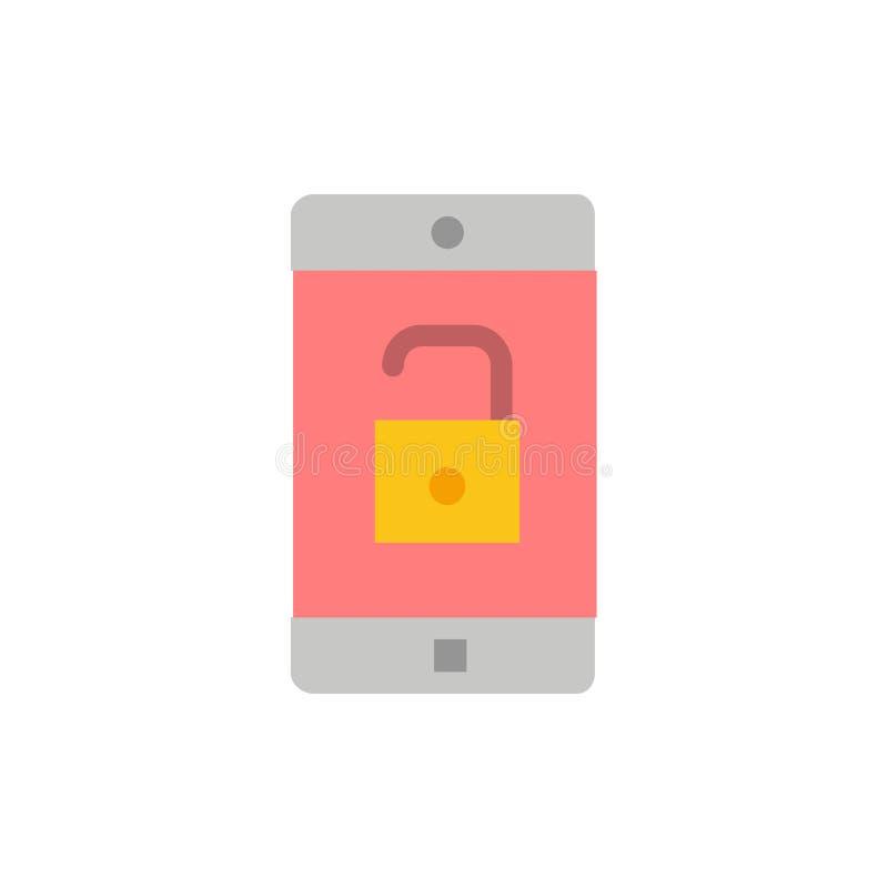 El uso, móvil, aplicación móvil, desbloquea el icono plano del color Plantilla de la bandera del icono del vector ilustración del vector