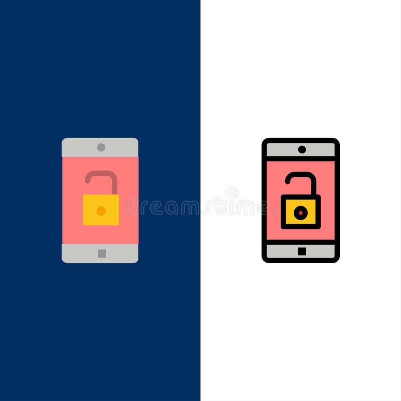 El uso, móvil, aplicación móvil, desbloquea iconos El plano y la línea icono llenado fijaron el fondo azul del vector stock de ilustración