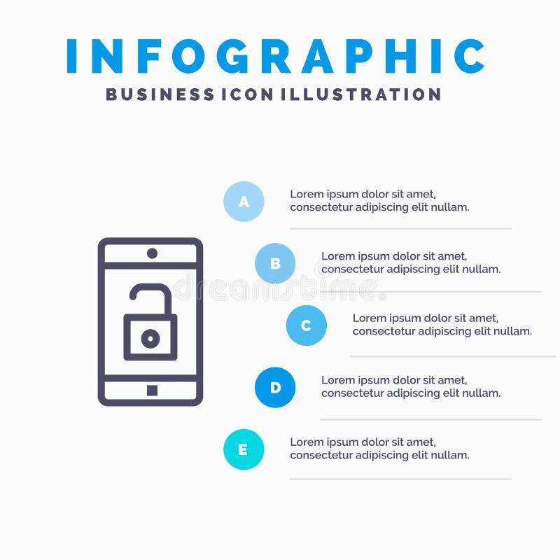 El uso, móvil, aplicación móvil, desbloquea la línea icono con el fondo del infographics de la presentación de 5 pasos stock de ilustración