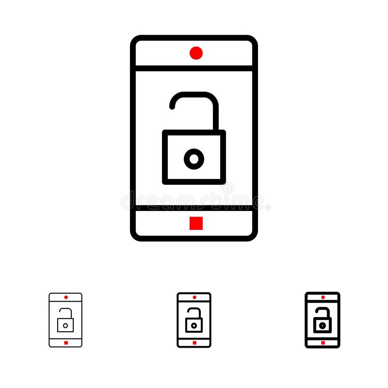 El uso, móvil, aplicación móvil, desbloquea la línea negra intrépida y fina sistema del icono libre illustration
