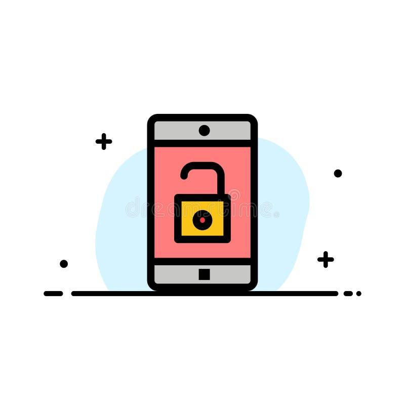 El uso, móvil, aplicación móvil, desbloquea la línea plana plantilla llenada del negocio de la bandera del vector del icono libre illustration
