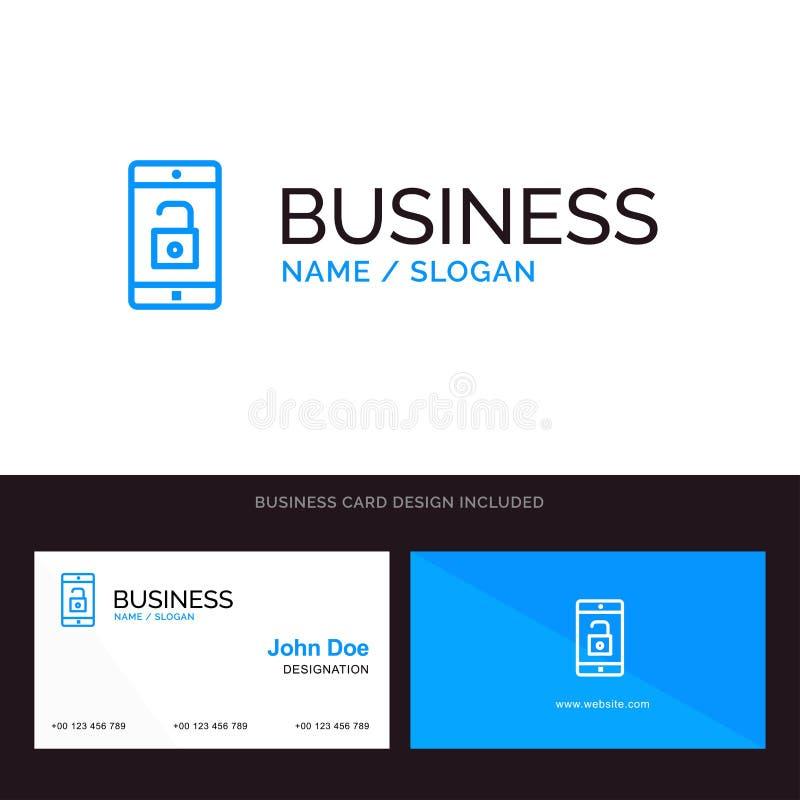 El uso, móvil, aplicación móvil, desbloquea el logotipo del negocio y la plantilla azules de la tarjeta de visita Dise?o del fren stock de ilustración