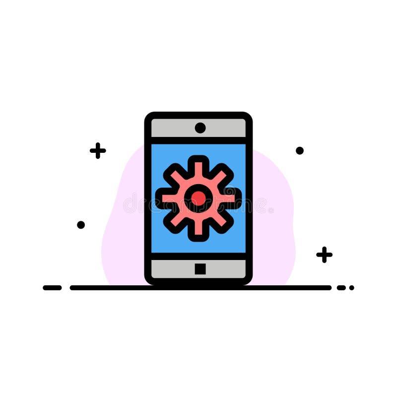 El uso, móvil, aplicación móvil, fijando la línea plana del negocio llenó la plantilla de la bandera del vector del icono ilustración del vector