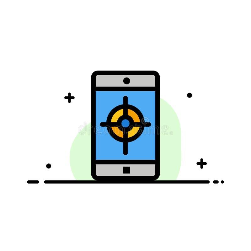 El uso, móvil, aplicación móvil, línea plana del negocio de la blanco llenó la plantilla de la bandera del vector del icono ilustración del vector