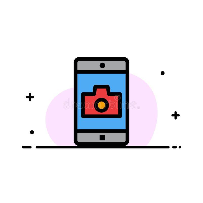 El uso, móvil, aplicación móvil, línea plana del negocio de la cámara llenó la plantilla de la bandera del vector del icono ilustración del vector