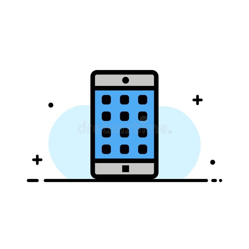 El uso, móvil, aplicación móvil, línea plana del negocio de la contraseña llenó la plantilla de la bandera del vector del icono stock de ilustración