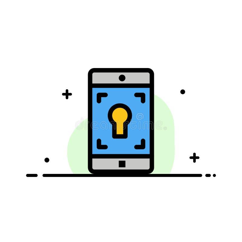 El uso, móvil, aplicación móvil, línea plana del negocio de la pantalla llenó la plantilla de la bandera del vector del icono libre illustration