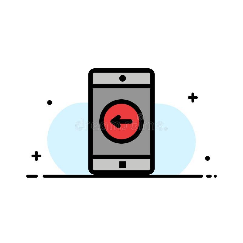 El uso, móvil, aplicación móvil, línea plana del negocio izquierdo llenó la plantilla de la bandera del vector del icono stock de ilustración