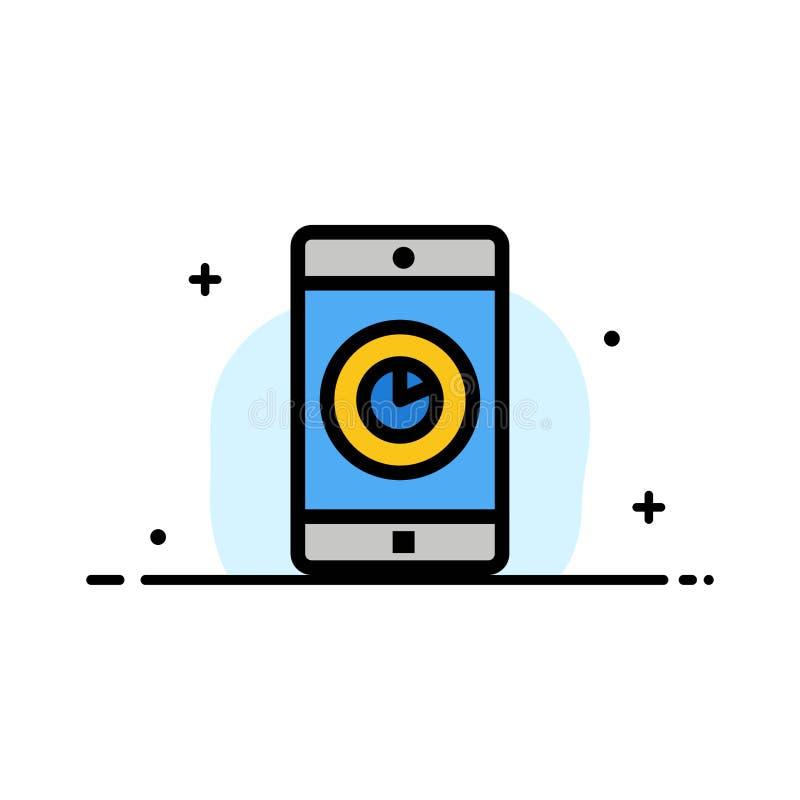 El uso, móvil, aplicación móvil, línea plana del negocio del tiempo llenó la plantilla de la bandera del vector del icono libre illustration