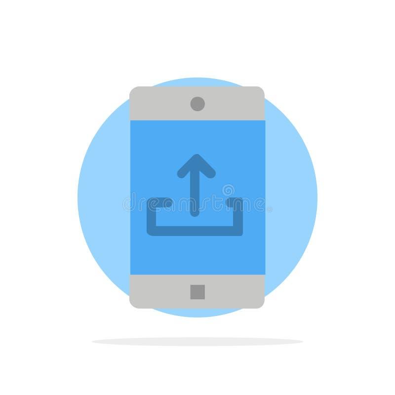 El uso, móvil, aplicación móvil, Smartphone, carga el icono plano del color de fondo abstracto del círculo stock de ilustración