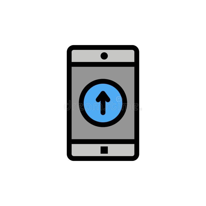 El uso, móvil, aplicación móvil, Smartphone, envió el icono plano del color Plantilla de la bandera del icono del vector stock de ilustración