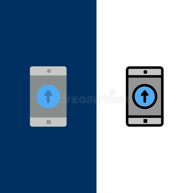 El uso, móvil, aplicación móvil, Smartphone, envió iconos El plano y la línea icono llenado fijaron el fondo azul del vector libre illustration