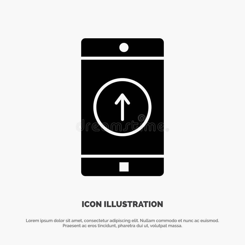 El uso, móvil, aplicación móvil, Smartphone, envió vector sólido del icono del Glyph stock de ilustración