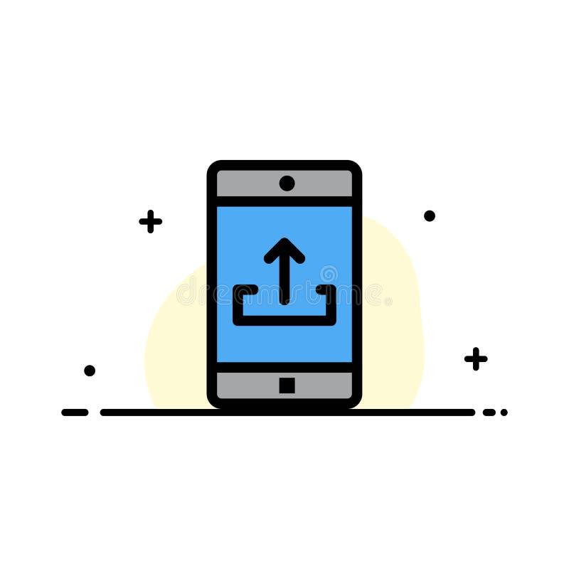 El uso, móvil, aplicación móvil, Smartphone, línea plana del negocio de la carga por teletratamiento llenó la plantilla de la ban ilustración del vector