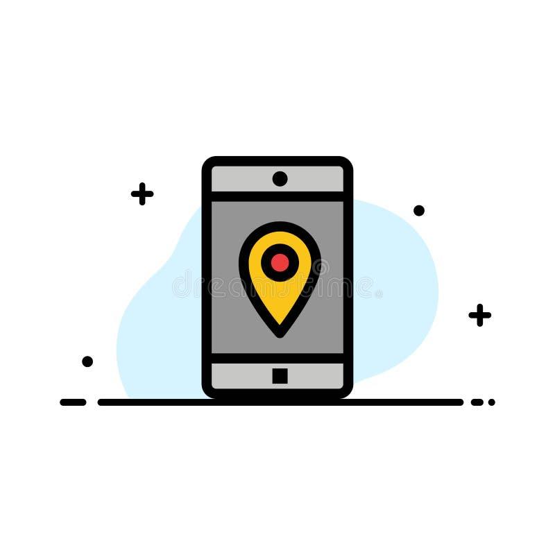 El uso, móvil, aplicación móvil, ubicación, línea plana del negocio del mapa llenó la plantilla de la bandera del vector del icon libre illustration