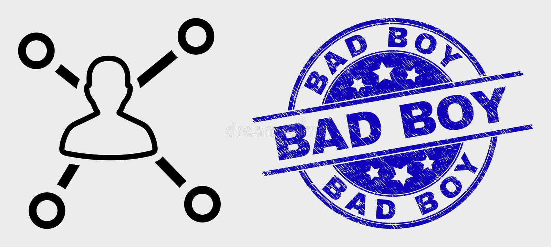 El usuario del esquema del vector liga el icono y el sello del chico malo del Grunge stock de ilustración