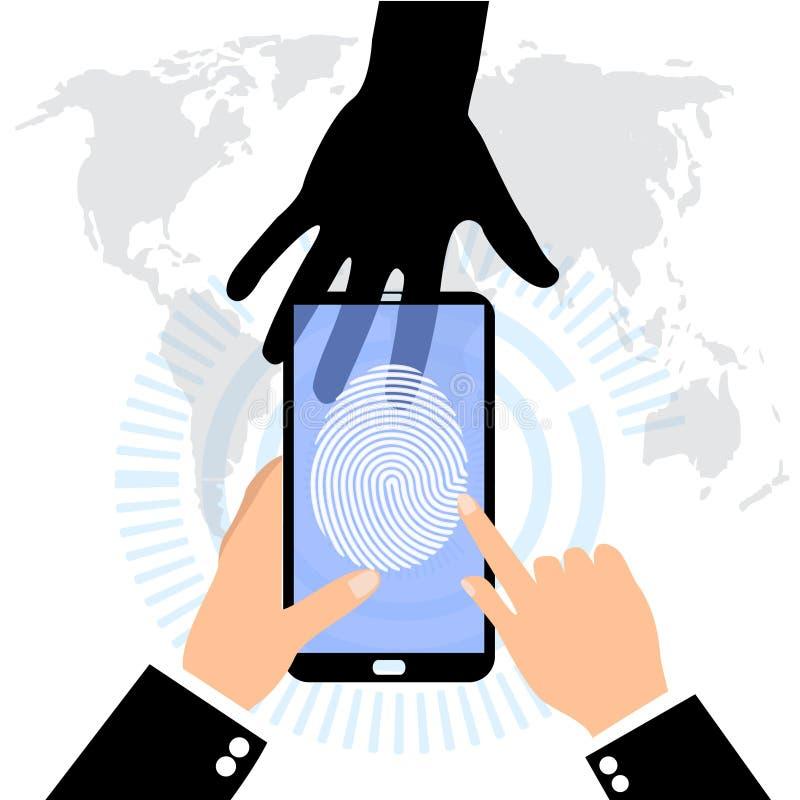 El usuario en una huella dactilar en el teléfono móvil Exploraciones de una huella dactilar stock de ilustración