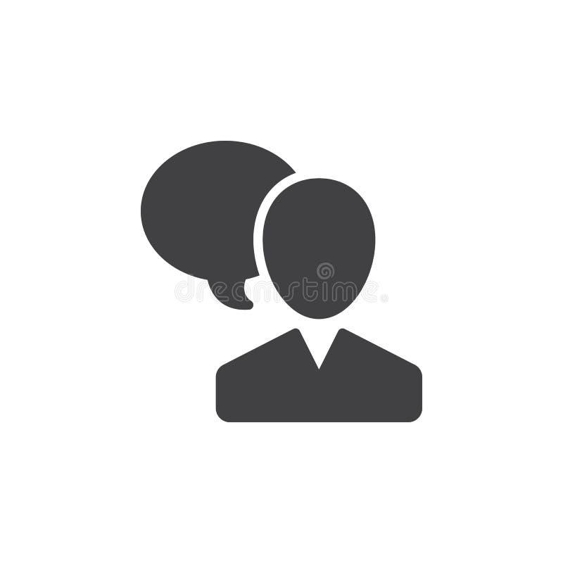 El usuario y el discurso burbujean, vector del icono de la persona que habla, muestra plana llenada, pictograma sólido aislado en stock de ilustración