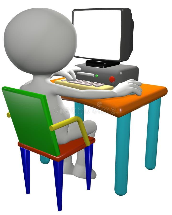 El utilizador del ordenador utiliza el monitor de la PC de la historieta 3D libre illustration