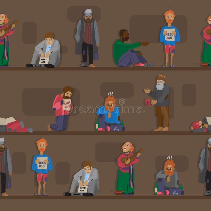 El vagabundo de los caracteres del gorrón de los hombres determinados del desempleo que necesitan vagos y a hobos de la ayuda se  stock de ilustración