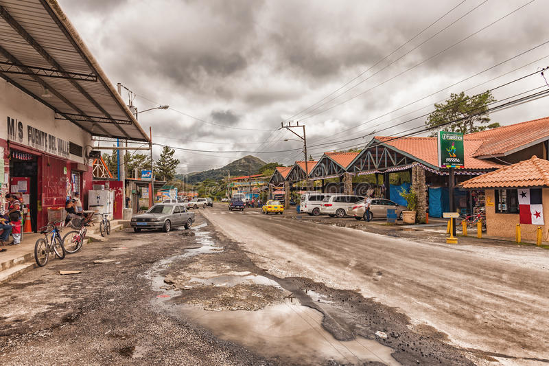 The main street with the small market hall in El Valle de Anton-Panama. El Valle de Anton, Panama - November 24, 2016: The main street with the small market hall stock photos